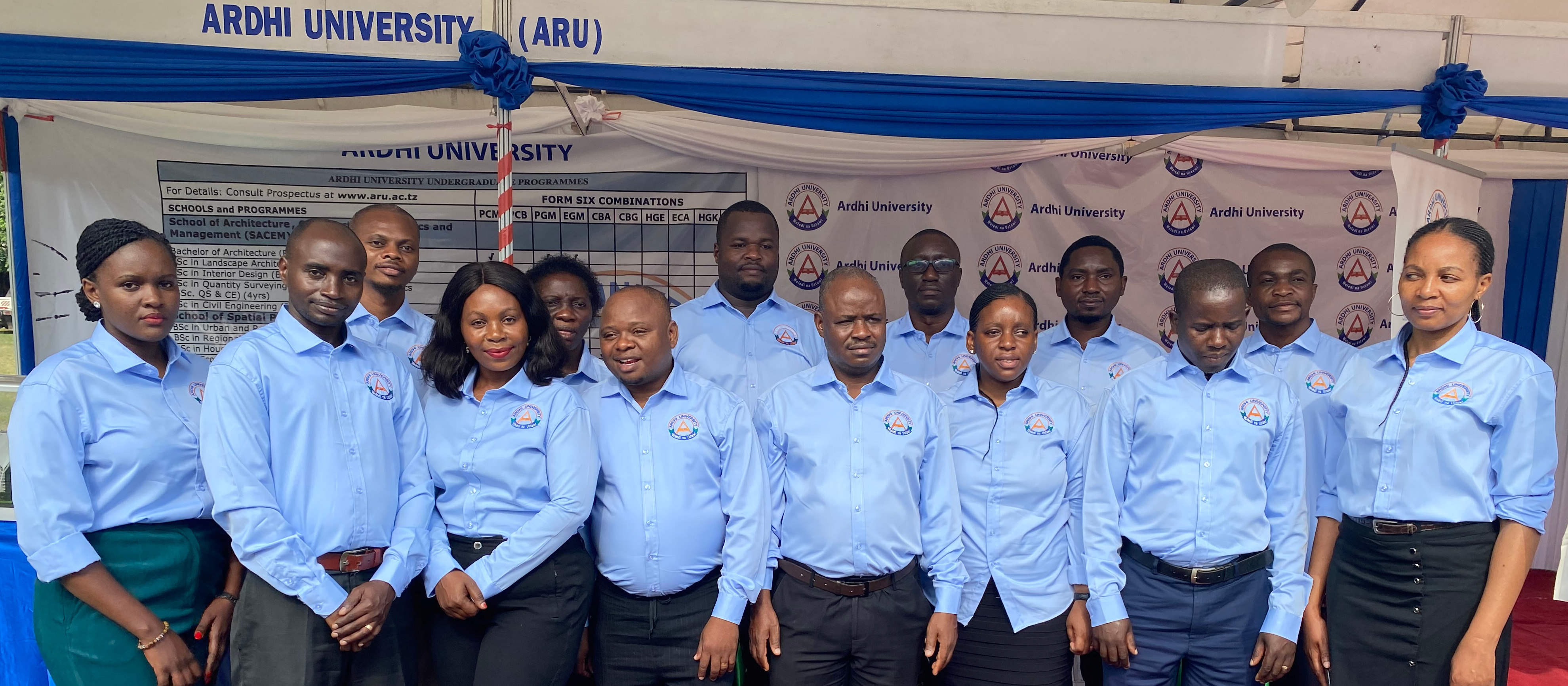 Ardhi University team during the 15th   Exhibition on Higher Education Science and Technology held at Mnazi Moja Grounds, Dar es Salaam.