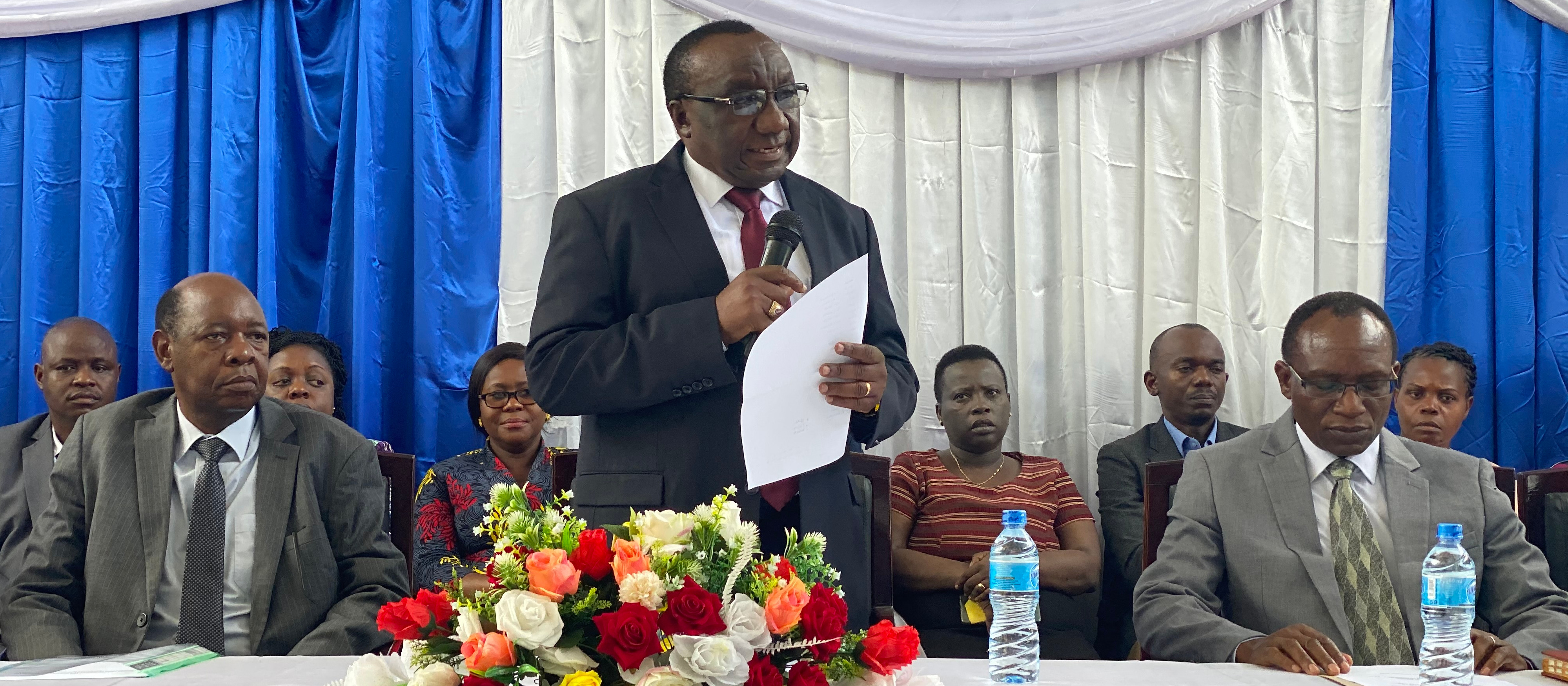 The Vice Chancellor Prof. Evaristo Liwa delivers a speech, during the orientation week, to first year students who were selected to join the University for the academic year 2020/2021.